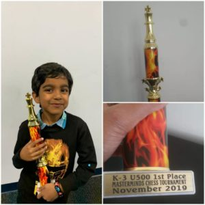 Azim wins K-3 Masterminds chess tournament – Massachusetts, USA.