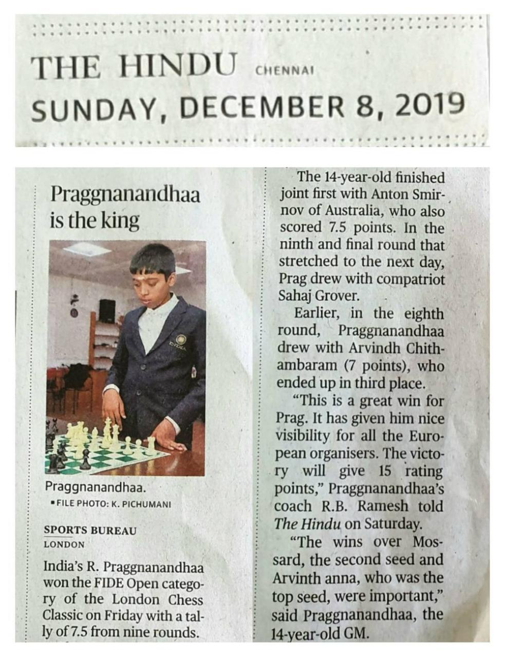 Praggnanandhaa is the King – THE HINDU 8 Dec 2019