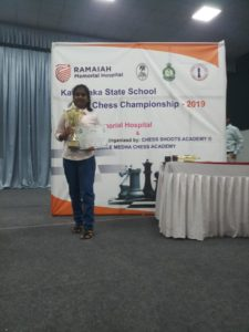 Spurthi secured Second in U-12 Karnataka state Schools Chess 2019
