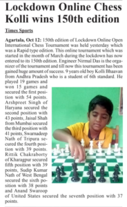 Kolla Bhavan wins 150th Edition of Lockdown Online Chess