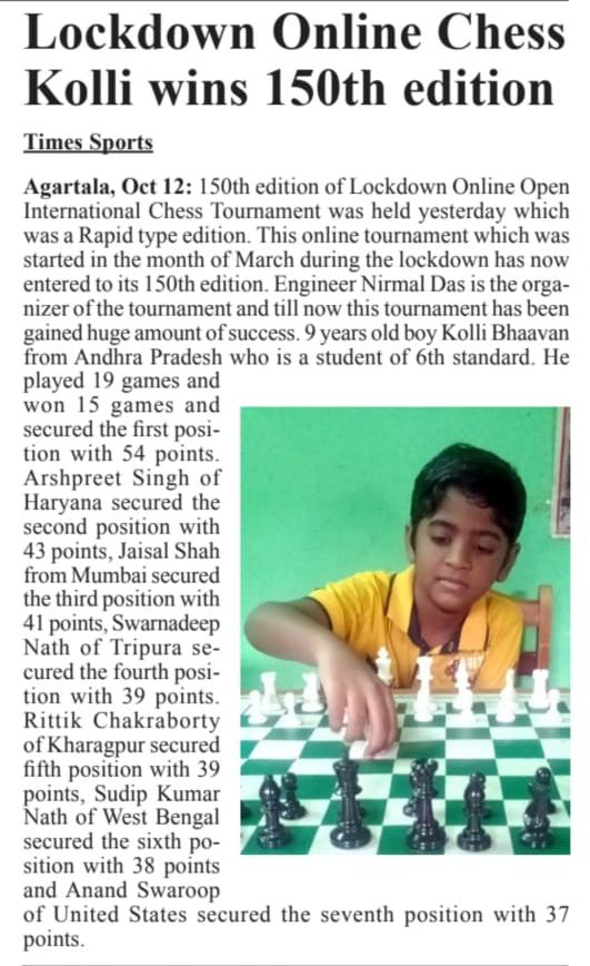 Kolla Bhavan wins 150th Edition of Lockdown Online Chess