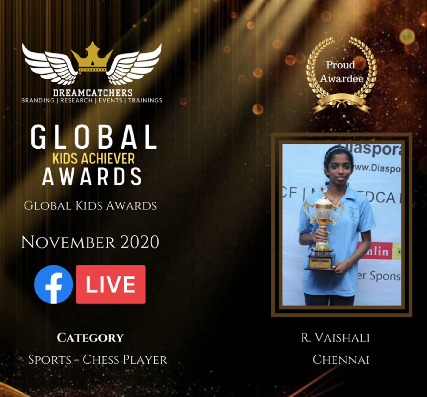 Vaishali received Global Kids Achievers Awards 2020 – Sports Chess Player