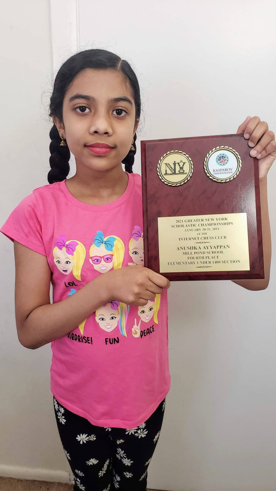 Anushka secured 4th place in 2021 Greater New York Scholastic U-1400