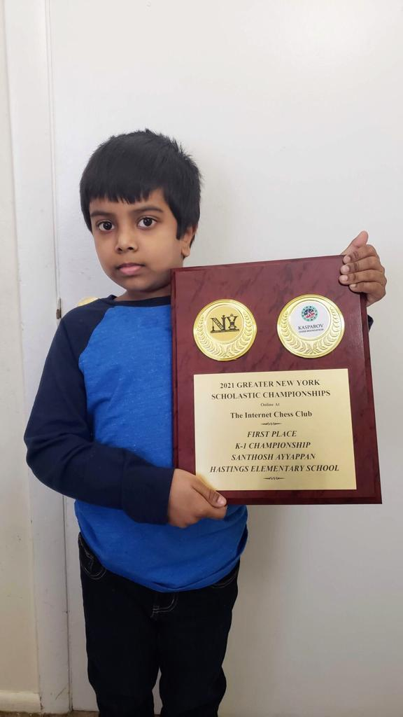 Santhosh wins the 2021 Greater New York Scholastic Championship K-1 section